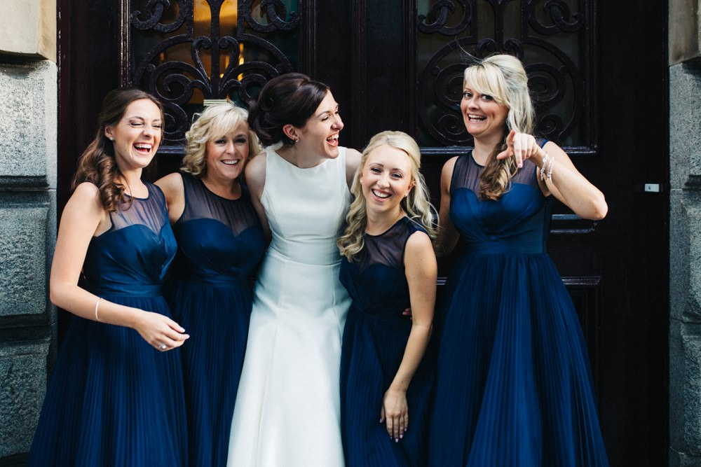 Outside the venue - bride and her 4 bridesmaids.
