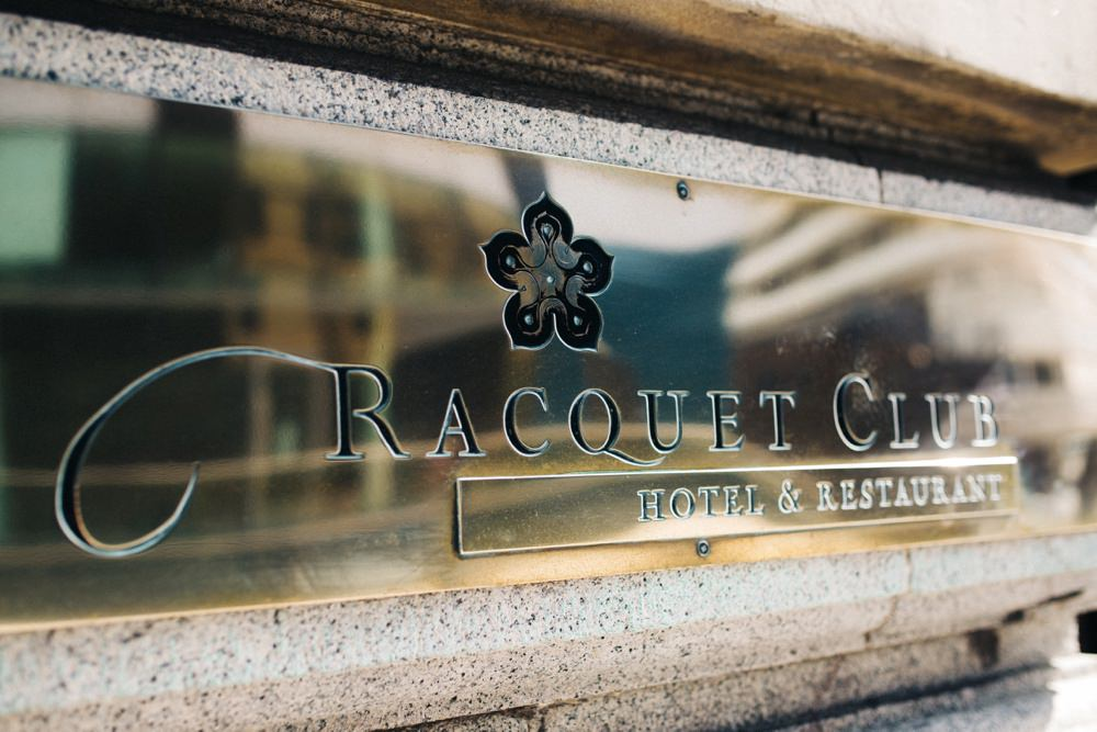 The venue sign, the racquet club.