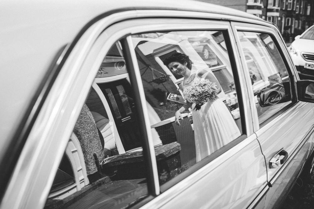bride going to car