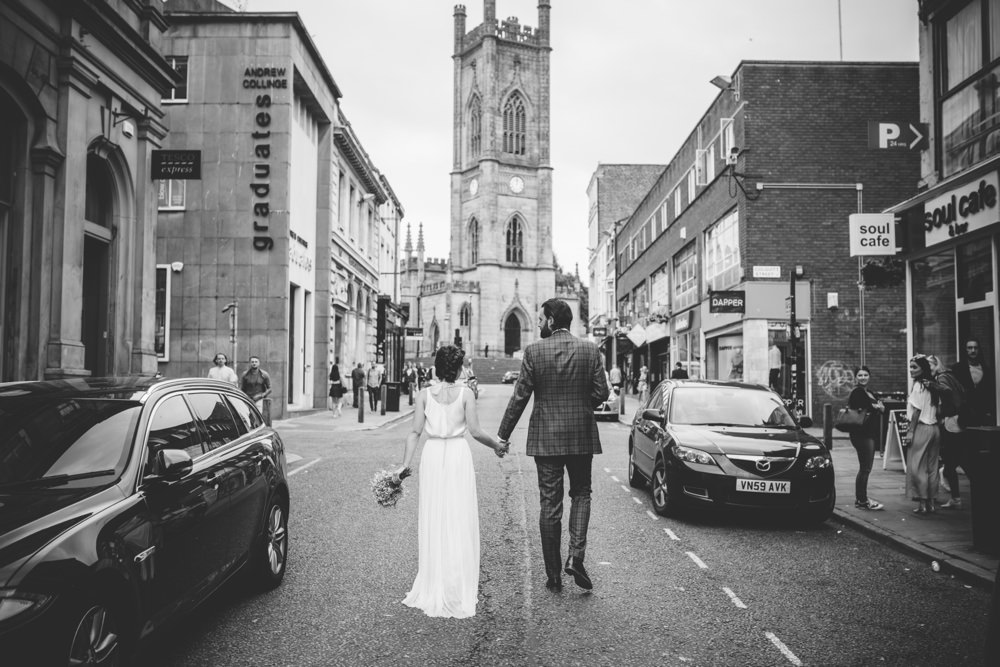 couple walking to venue