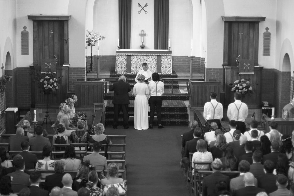 groom and bride at the aisle