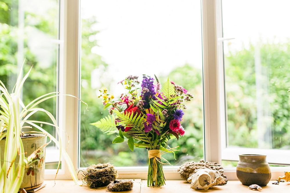 bouquet on windowsill