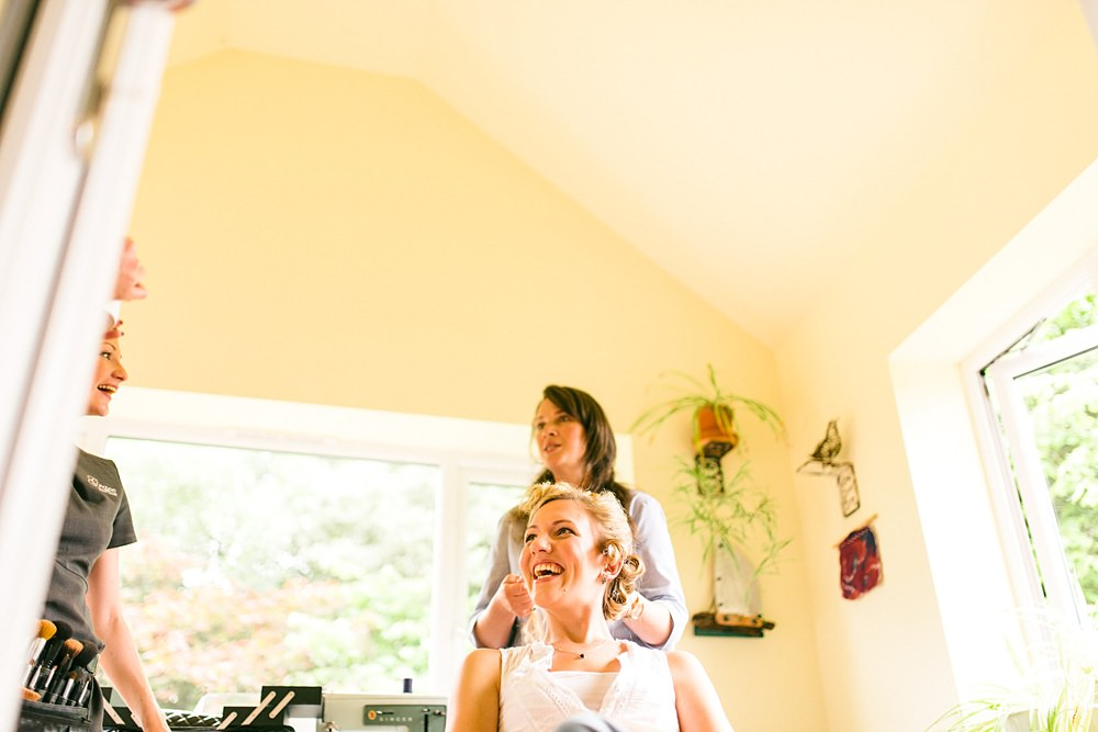 bride with hairdresser