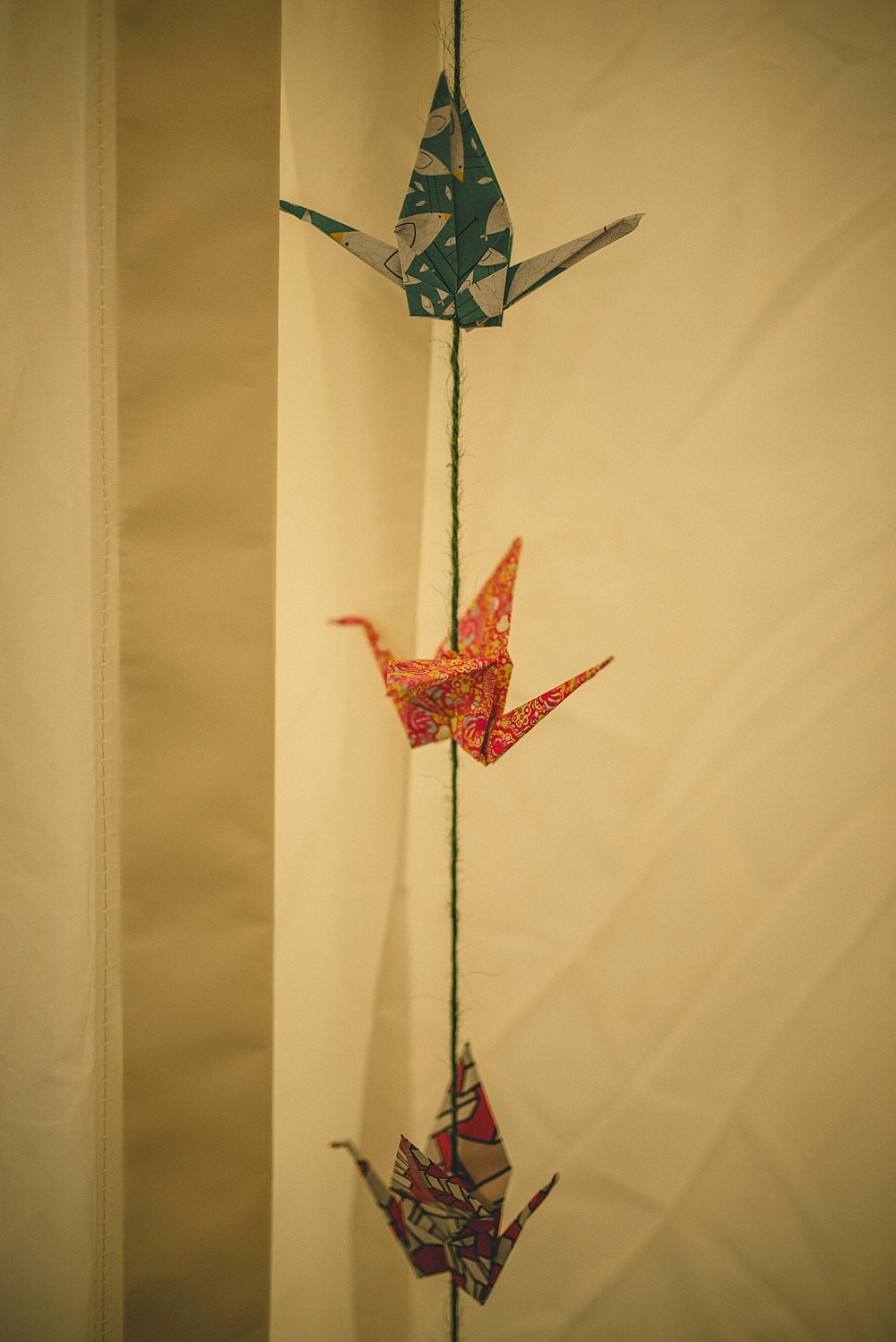 Origami cranes in the wedding marquee