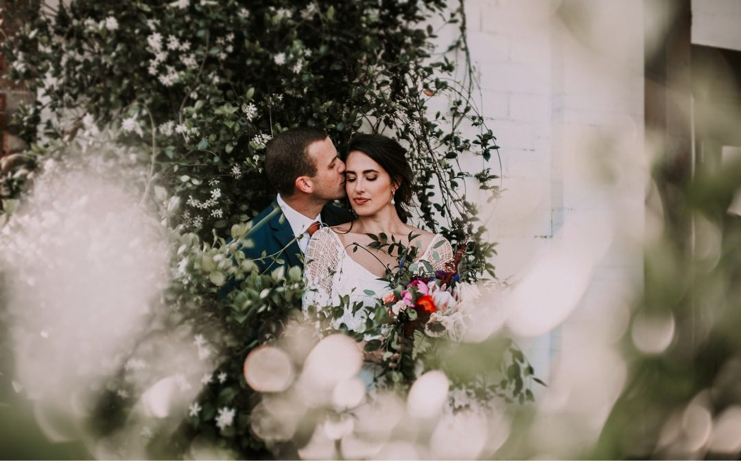Tropical Flowers and Grace Loves Lace for Cool Craft Brewery Wedding