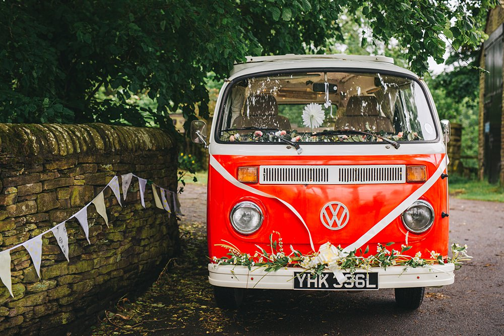 vw camper van at rustic wedding