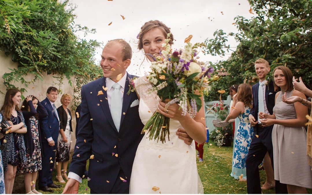 David Fielden Gown for Relaxed Forde Abbey Summer Wedding