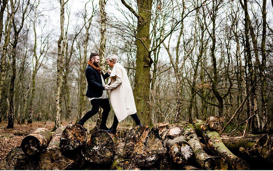 Kershia and Tom's Cool Woodland Engagement Shoot